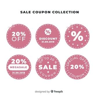 Insieme di etichette di vendita coupon creativo