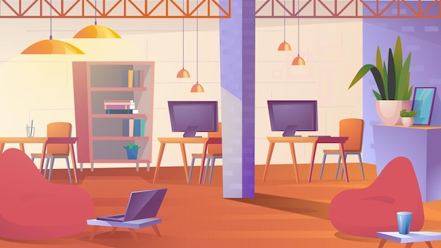 Creative coworking space flat cartoon style illustration of web background