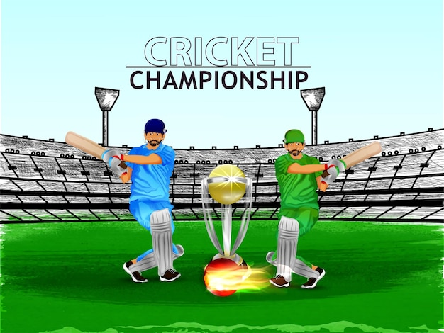Creative cricket championship with cricketer and trophy