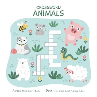 Creative crossword in english with animals