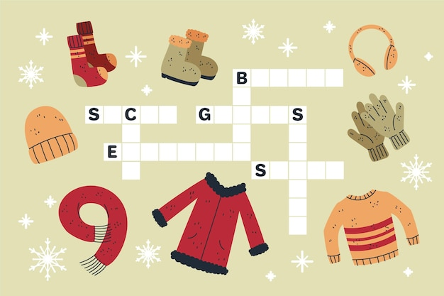 Creative crossword in english with clothes