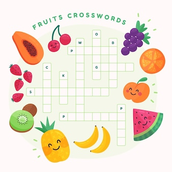 Creative crossword in english with fruits
