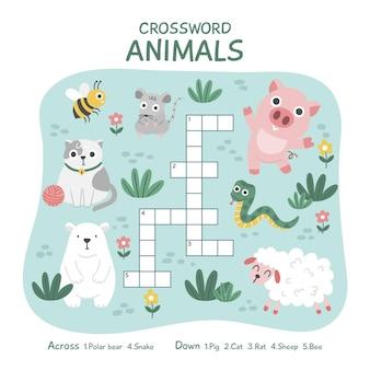 動物と英語の創造的なクロスワード