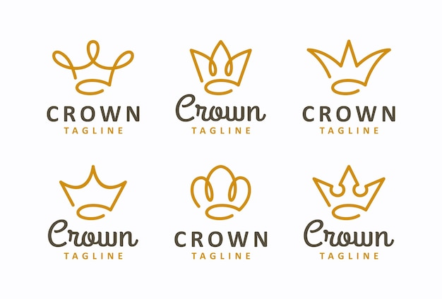 Creative crown concept logo design template set