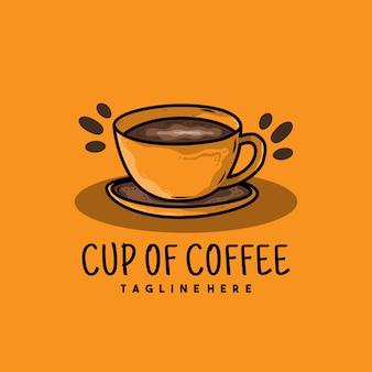 커피 일러스트 로고 디자인의 크리 에이 티브 컵
