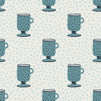 Creative cups ornament seamless hand drawn pattern. navy blue kitchen elements on light pastel background with dots.