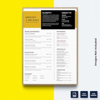 クリエイティブcv履歴書印刷テンプレートベクトルプレミアム