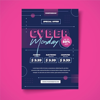 Creative cyber monday flyer template with special discount