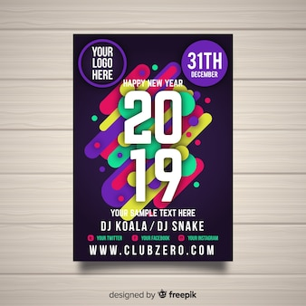 Creative dark 2019 new year party poster