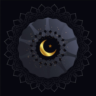 Creative dark background with golden moon and star