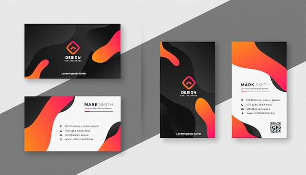 Creative dark business card template set