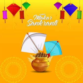Creative decorative background with colorfull kite and string spool