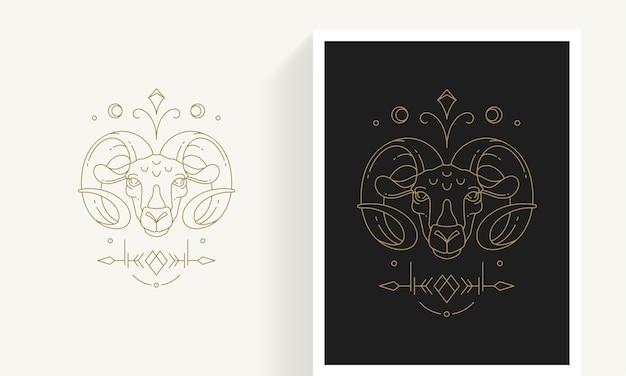 Креативный декоративный элегантный линейный астрологический шаблон эмблемы зодиака овен для логотипа