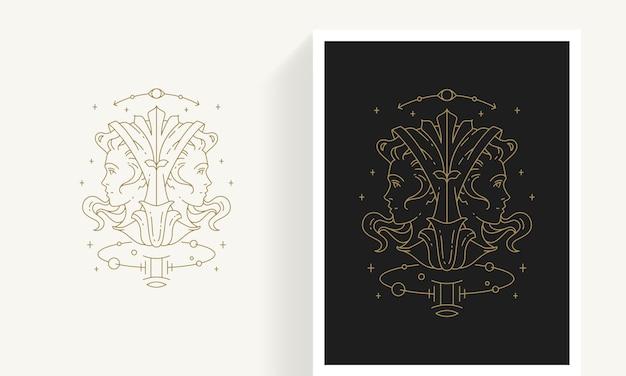 Creative decorative elegant linear astrology zodiac gemini emblem template for logo
