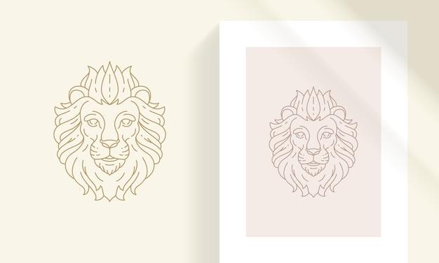 ロゴの創造的な装飾的なエレガントな線形占星術干支レオエンブレムテンプレート