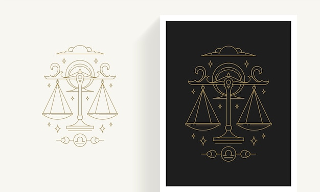 Creative decorative elegant linear astrology zodiac libra emblem template for logo