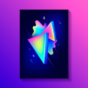 Creative decorative poster with composition of 3d triangles and others shapes.