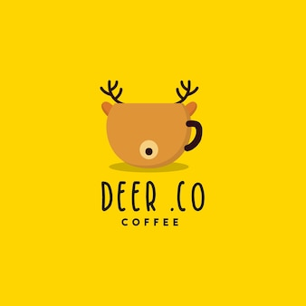 Креативный дизайн логотипа кофе оленей
