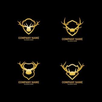 創造的な鹿ゴールデンシールドロゴデザインシンボルベクトルイラスト。