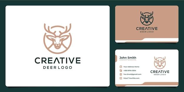 モノラインスタイルと名刺で創造的な鹿のロゴデザイン