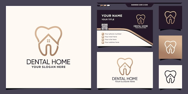 Creative dental home logo template with line art style and business card design premium vector