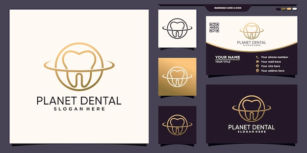 Creative dental and planet logo with line art style and business card design premium vector