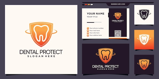 Creative dental and shield logo template with modern concept and business card design premium vector