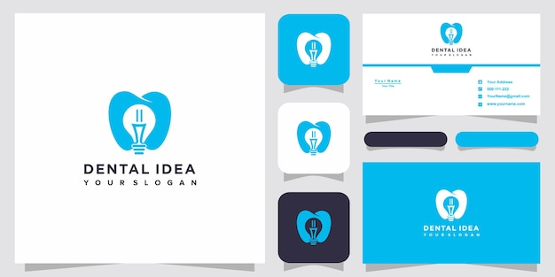 Creative dental technology logo and business card design. creative light bulb ideas