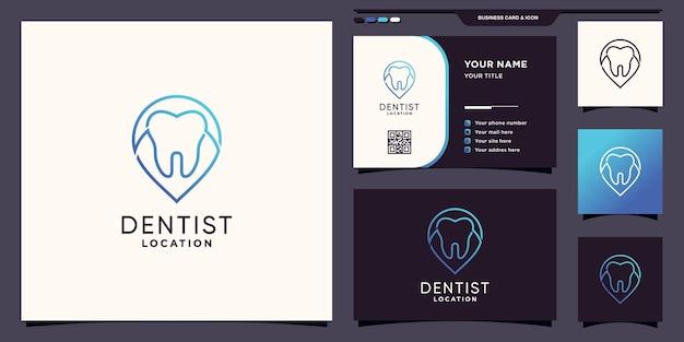 핀 포인트 라인 아트 스타일과 명함 디자인이 있는 크리에이 티브 치과 위치 로고 premium vector
