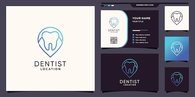 Creative dentist location logo with pin point line art style and business card design premium vector