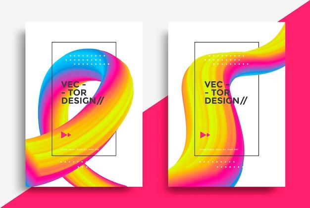 Creative design 3d flow shape liquid wave poster vector illustration