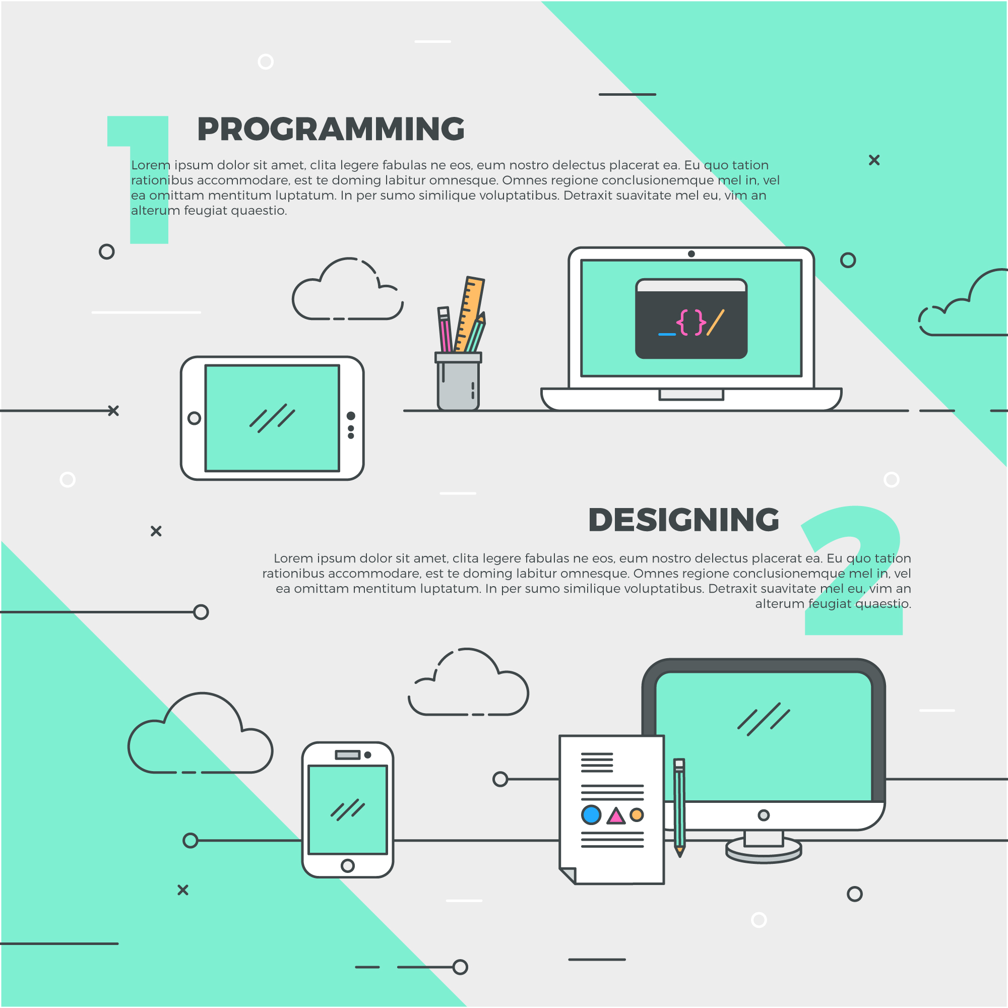 Creative design and programming illustration
