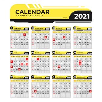 黄色と黒の創造的なデザインカレンダー