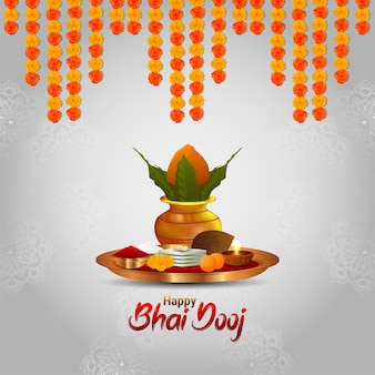 Creative design concept of happy bhai dooj