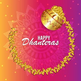 Creative design concept of happy dhanteras