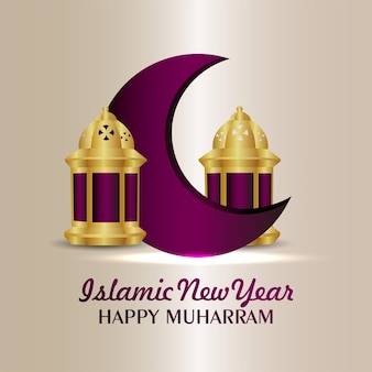 Creative design concept of happy muharram celebration background