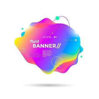Креативный дизайн жидкого баннера с футуристическими градиентами форм яркие геометрические элементы