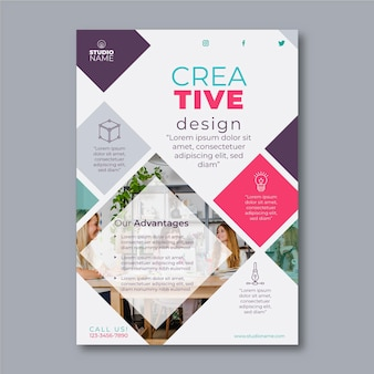 Creative design flyer template with photo