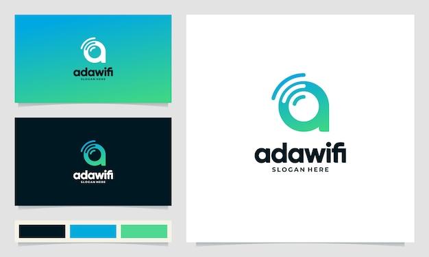 Wifiシンボルと創造的なデザインのロゴ文字a