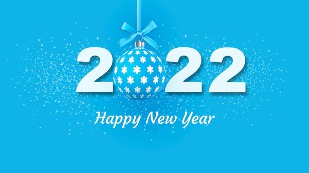 Креативный дизайн новогодней открытки 2022 года на современном фоне. яркий плакат в стиле мемфиса. база из геометрических элементов и цветных номеров. векторная иллюстрация.