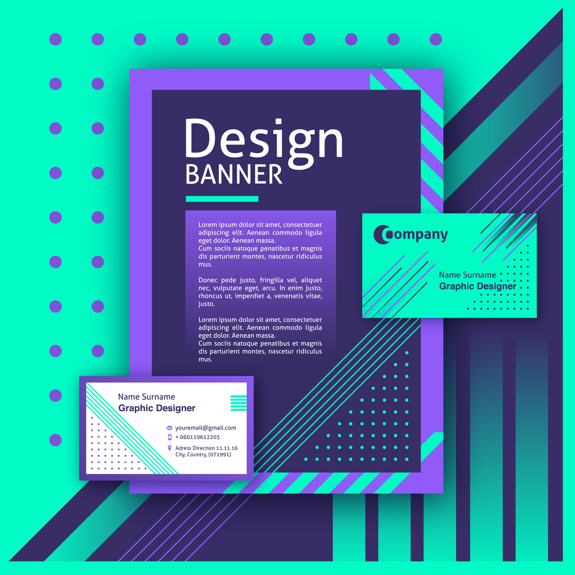 Creative design of banner and cards purple with green