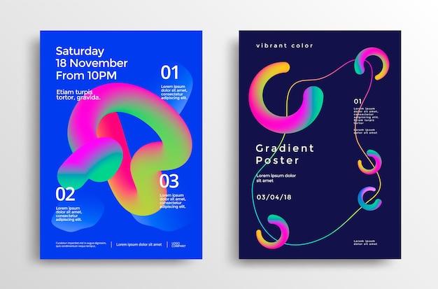 鮮やかなグラデーションの形をしたクリエイティブなデザインのポスター。