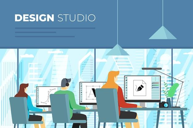 창의적인 디자인 스튜디오 배너 전문 디자이너는 외부 사무실 내부의 컴퓨터에서 작업합니다.