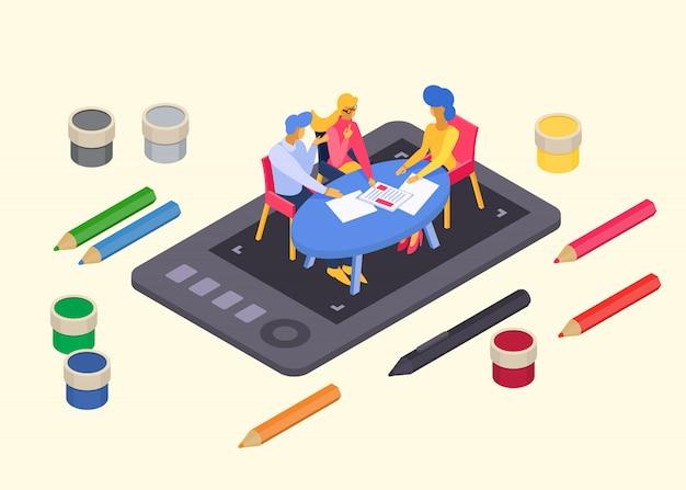 크리 에이 티브 디자인 팀, 작은 캐릭터 남성 여성 앉아 그래픽 planchet 평면 벡터 일러스트 레이 션. 예술가 승무원 회의.