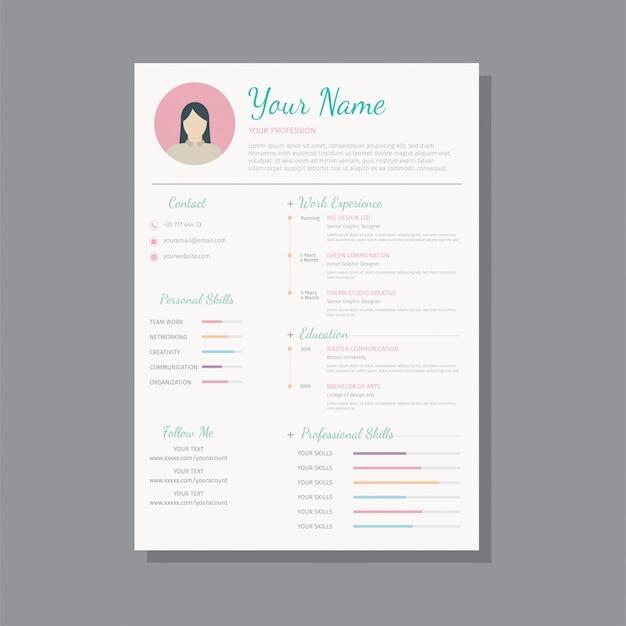 Creative design template resume / cv, resume for women - vector