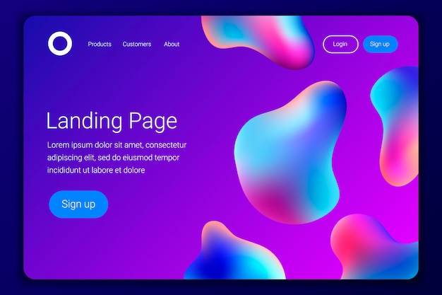 Creative design with plastic shapes for landing page or web template.