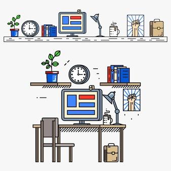 細い線のフラットスタイルのクリエイティブデザイナーワークスペース。ビジネスの職場、仕事と机、デスクトップとテーブル、モニター画面と本、