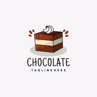 Creative dessert chocolate cake icon logo illustration