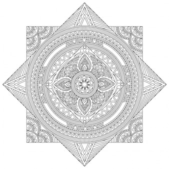 Creative detailed mandala design, beautiful floral oriental pattern, vintage decorative element for coloring book, anti stress therapy.