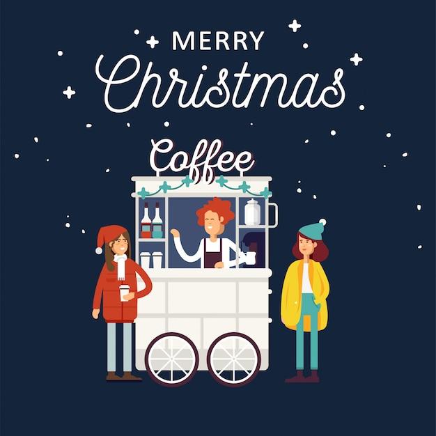 에스프레소 머신, 시럽 병, 일회용 컵 및 판매자와 함께 창의적인 세부 거리 커피 카트 또는 상점. 젊은 사람들은 커피를 마시고. 크리스마스 박람회.